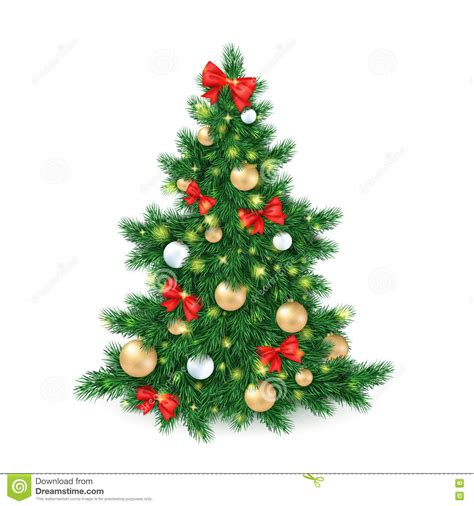 tree with big ornaments vector illustration of big tree decorated white