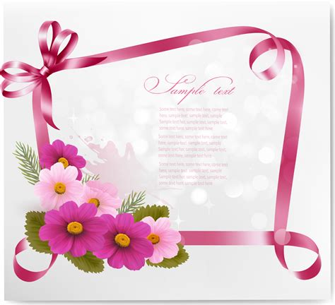 greeting cards ribbon with flower greeting card vector 02 vector card