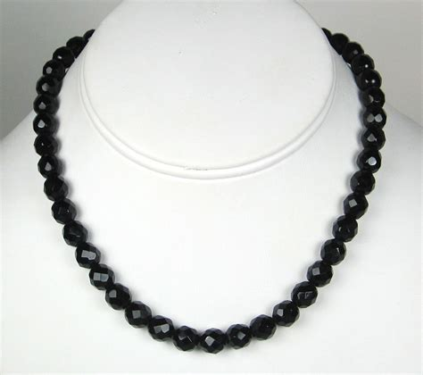 black bead necklace vintage jet black bead necklace made in austria