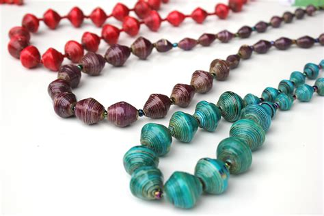 paper bead graduated paper bead necklace seed