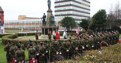 parade ta territorial army volunteers parade at bootle war memorial