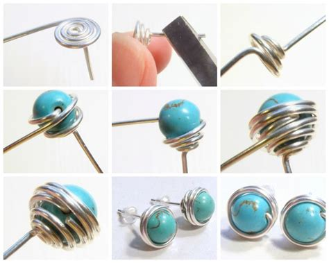 how to make bead jewelry with wire free diy how to wire wrapped bead stud earrings see step