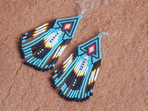 beaded feather feather american beaded earrings authentic