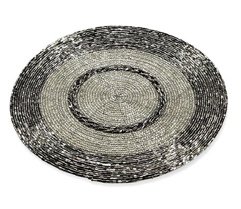 silver beaded placemats silver table setting tablescape decor