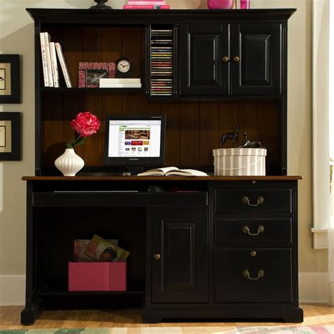 black desk with hutch riverside summit 58 inch computer desk with hutch cherry