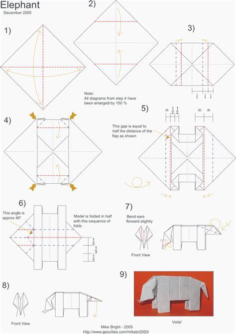 origami elephant diagram origami animals