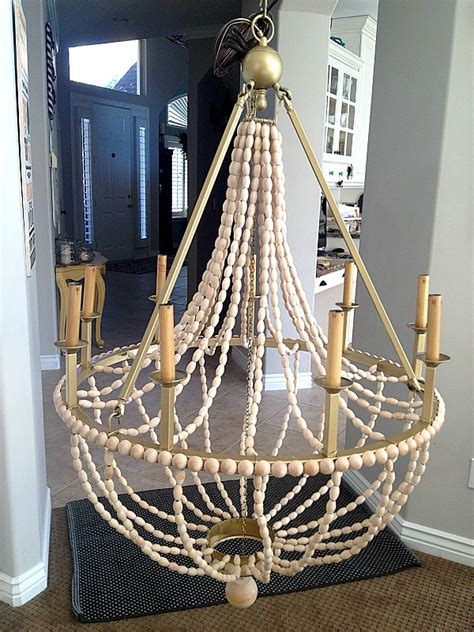 diy beaded chandelier tutorial how to make a diy wood beaded chandelier tatertots