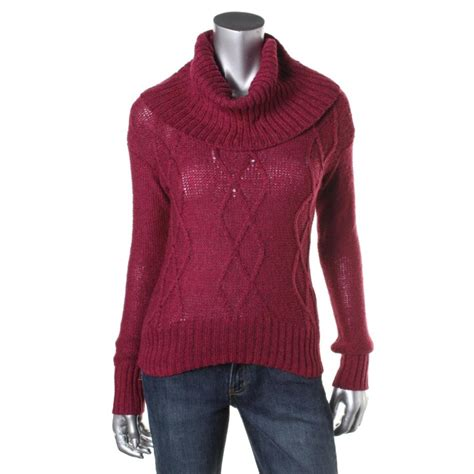cable knit sweater juniors oh mg 2507 womens cable knit cropped cowl neck crop