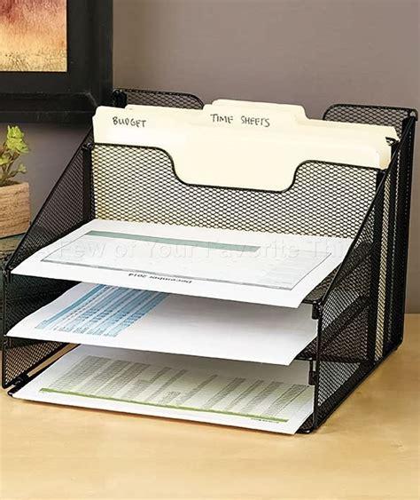 office desk organization supplies black 5 compartment desktop file organizer office supply