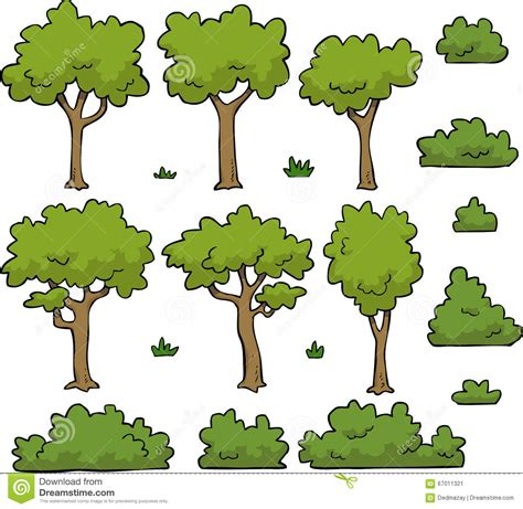 bushes and trees trees and bushes stock vector image 67011321