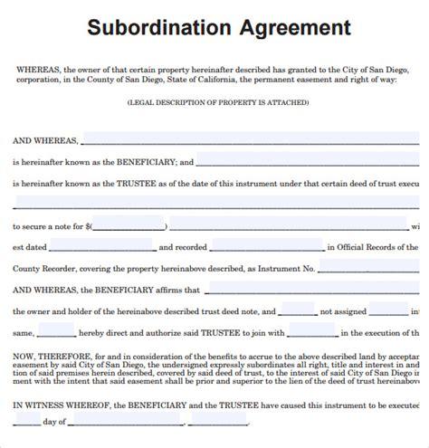 sample subordination agreement 8 example format