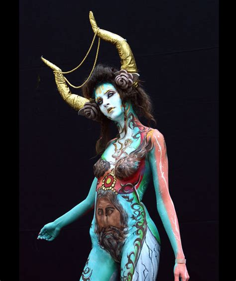 festival mundial de bodypainting en poertschach a model poses with bodypainting designed by