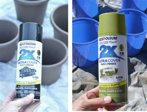 spray painting plastic courtyard container planting centsational
