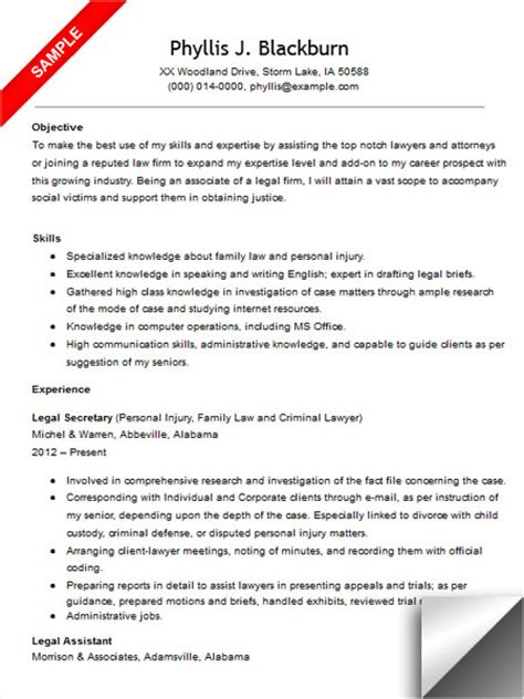 legal assistant resume objective sample images