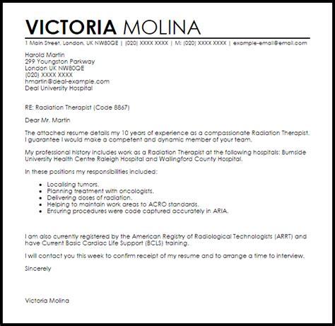 radiation therapist cover letter sample livecareer