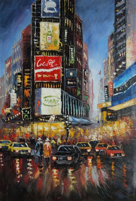 paint the nite nyc framed new york time square painting