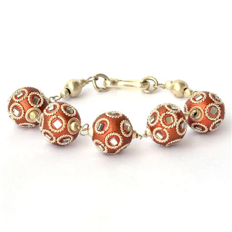 copper bead bracelet handmade bracelet shining copper with mirrors