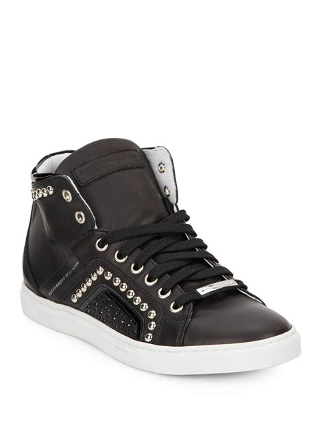 leather high top shoes for alessandro dell acqua studded high top leather sneakers in
