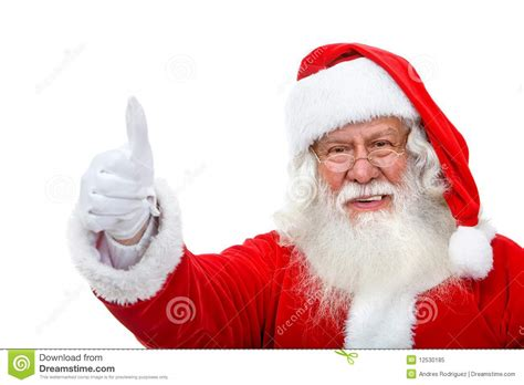 up santas santa with thumbs up stock image image of approval