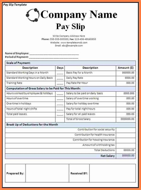 5 Canadian Payslip Template Salary Slip