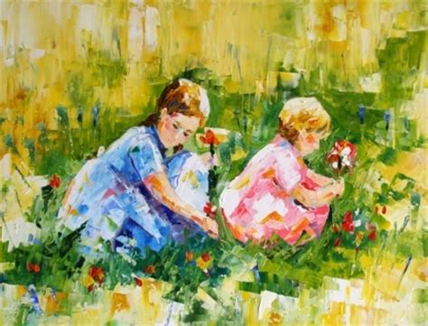 flower child painting flower pickers child contemporary painting by