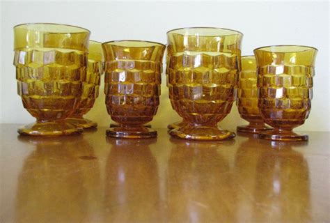 vintage glass vintage cubist glassware by indiana glass co set