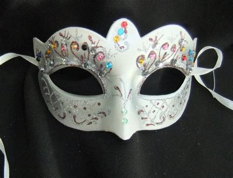 flower mask pretty silver bright jewelled flower mask