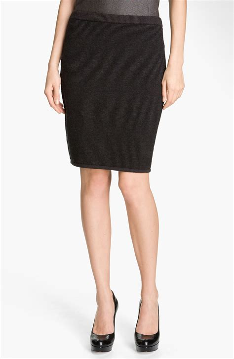 knit pencil skirt eileen fisher knit pencil skirt in gray charcoal lyst