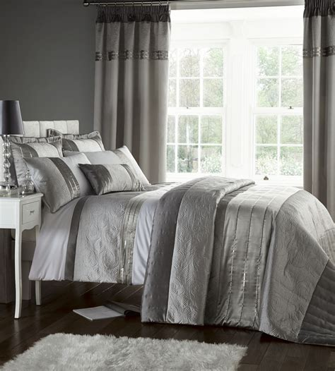 curtain and bedding set silver grey luxury duvet quilt cover bedding bed set or
