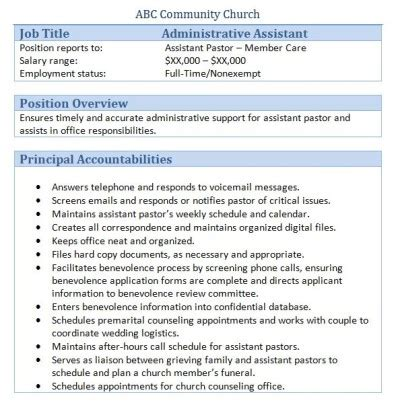 Free Sample Resume Cover Letters 45 free downloadable sample church job descriptions