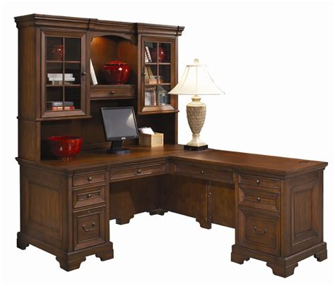 desk with return and hutch l shaped computer desk and return with hutch by aspenhome