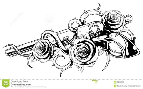 vintage revolver with roses tattoo stock vector image