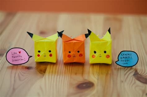 origami raichu pikachu origami how to fold tutorial kawaii