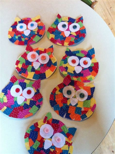 arts and crafts for preschool cardboard owl cutout small fabric squares glued on to