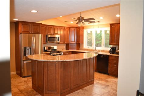 two tier kitchen island kitchen remodel with two tier island traditional kitchen boston by attleboro kitchen and