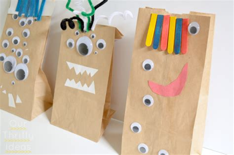 paper bag crafts crafting w paper bag monsters our thrifty ideas