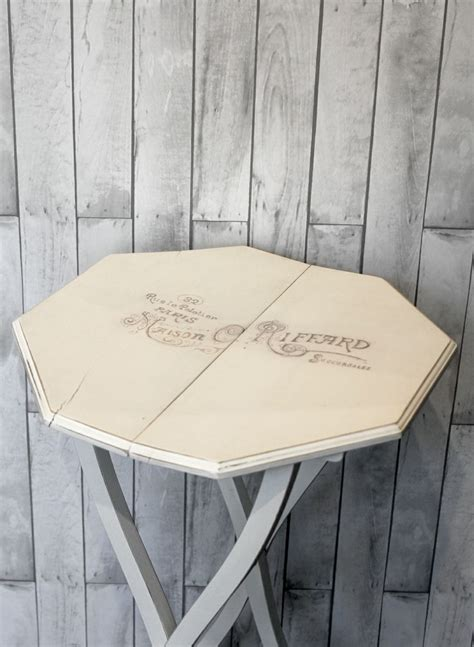 autentico chalk paint vanilla upcycled small side table painted with autentico