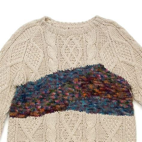 thick and thin yarn knitting patterns design inspiration texture clash aran stitch pattern