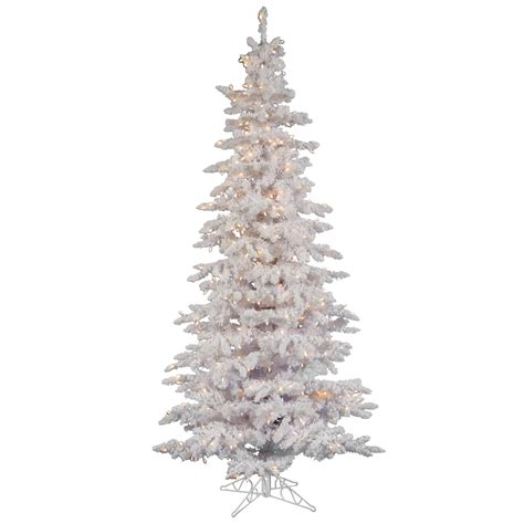 9 ft slim flocked tree 9 foot flocked white slim spruce tree clear