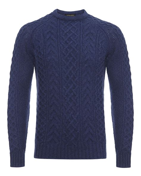 blue knit sweater jaeger wool cable knit raglan sweater in blue for lyst