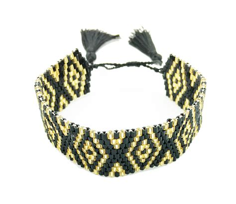 black and gold bead bracelet black and gold beaded detailed bracelet always by