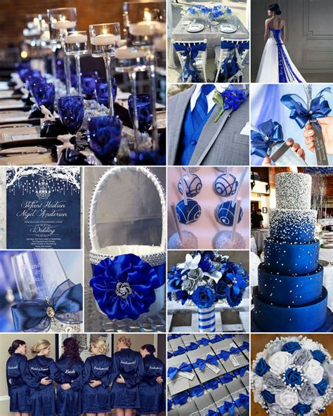 blue silver royal blue white and silver weddings