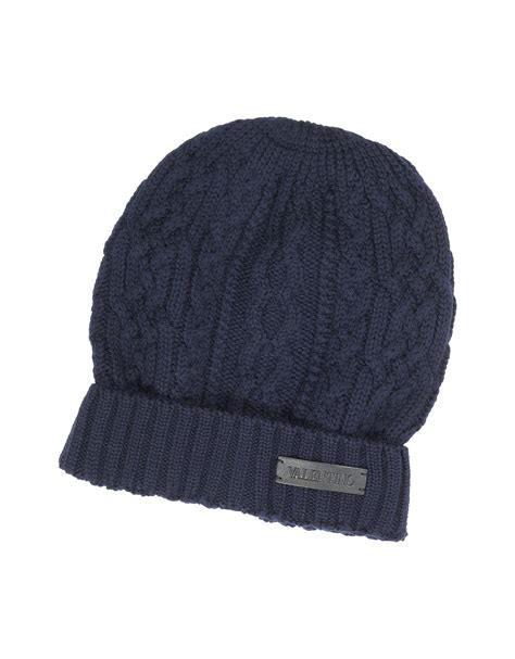 knit mens hat valentino cable knit wool s hat in blue for lyst