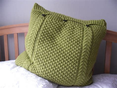 knitted pillows large lime green pillow cushion cover knitted cable