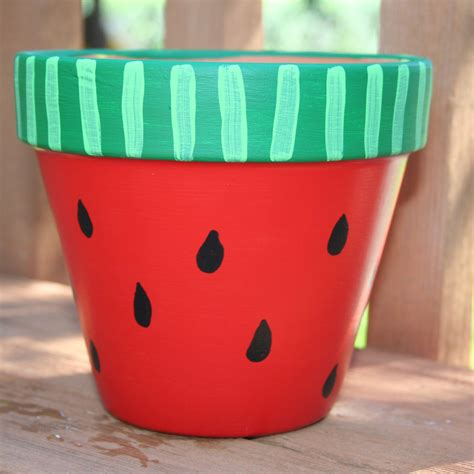 flower pot crafts for painted flower pots watermelon 6 inch painted
