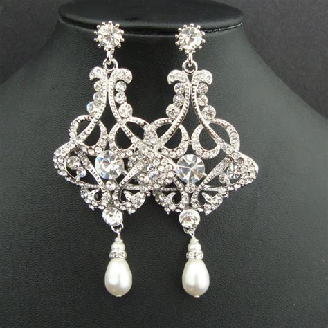 chandelier bridal wedding earrings pearl drop chandelier