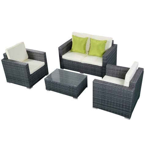 gray patio furniture sets furniture pc rattan patio furniture set garden lawn sofa cushioned seat gray wicker outdoor