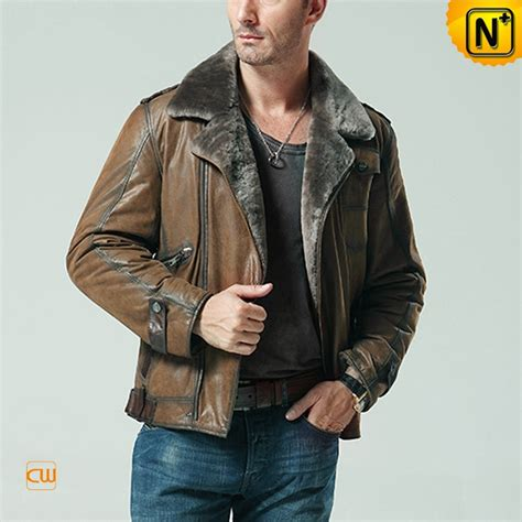 leather and shearling jacket mens calfskin leather shearling jacket cw877049