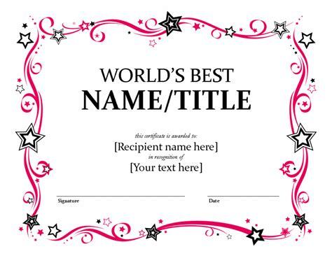 best certificate templates best friend award certificate printable