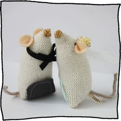knitted wedding cake toppers wedding mice cake toppers knitting
